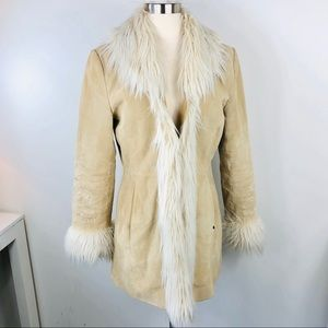 Real Leather Suede Shearling Jacket Coat Boho S